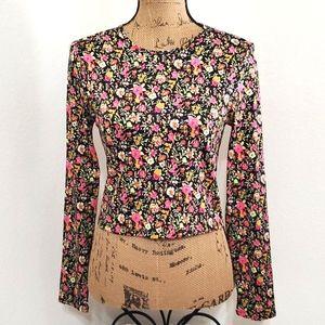 WAYF•Black Ditzy Floral•long sleeve•MED•NWT•
